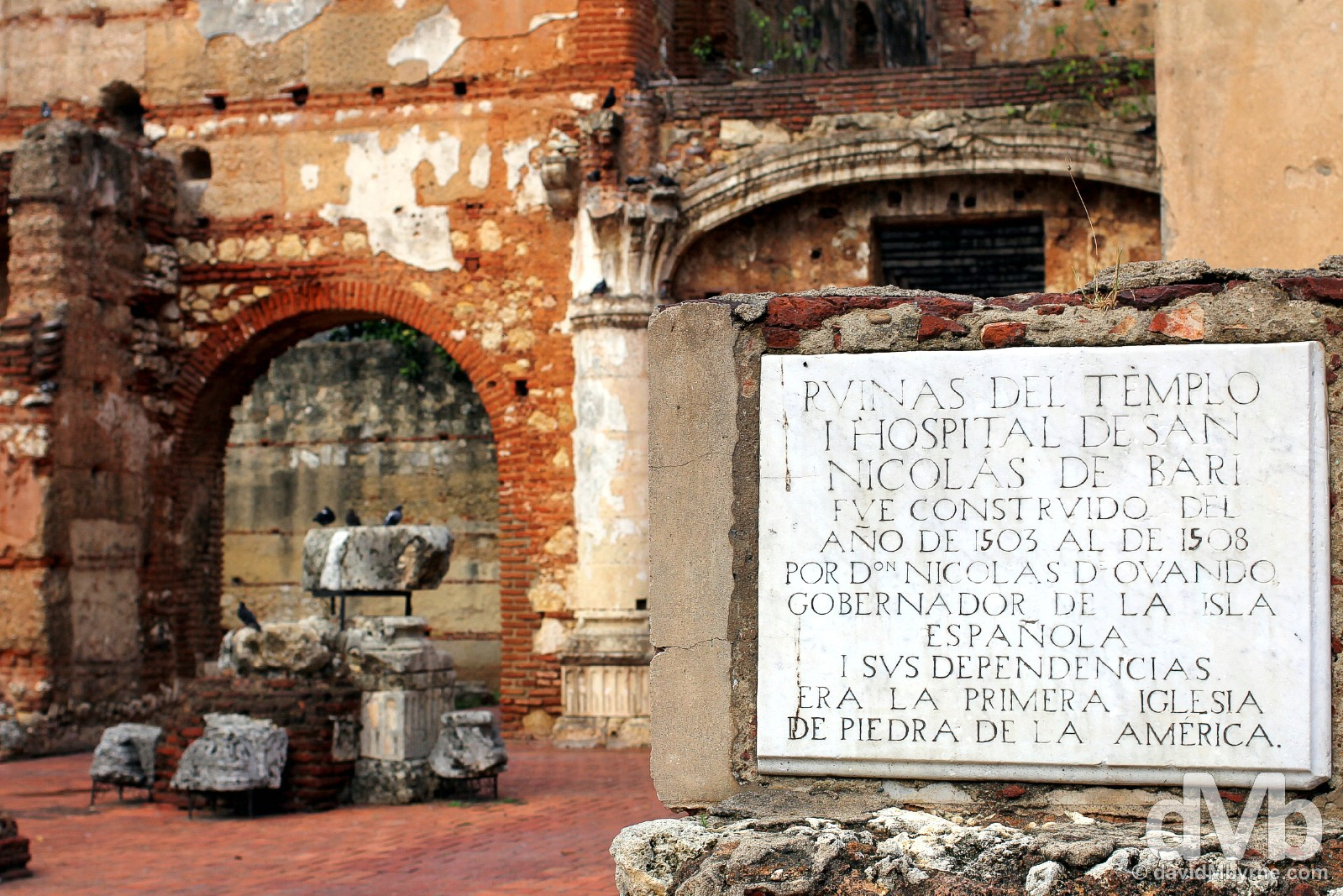 Ruinas del Hospital San Nicolas de Bari, present-day ruins of the New World's first hospital in Zona Colonial, Santo Domingo, Dominican Republic. May 26, 2015.