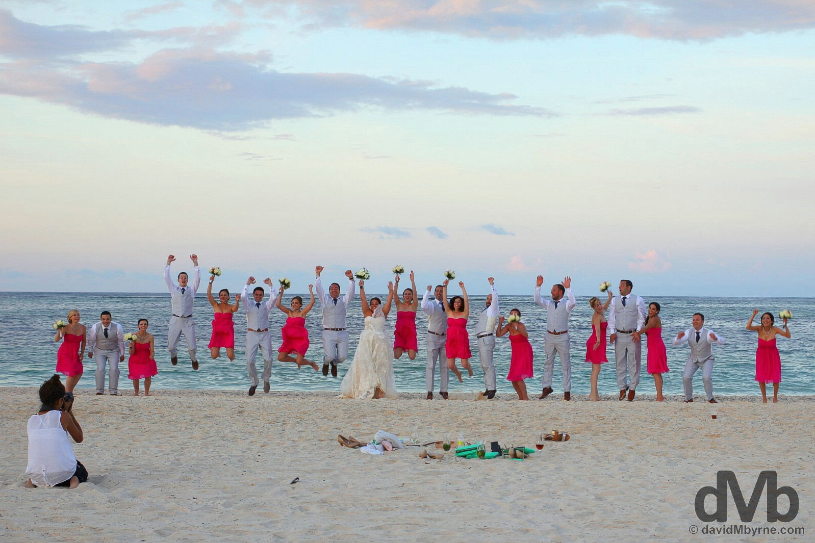Wedding jump shot on Bavaro Beach, Punta Cana, Dominican Republic. May 28, 2015.