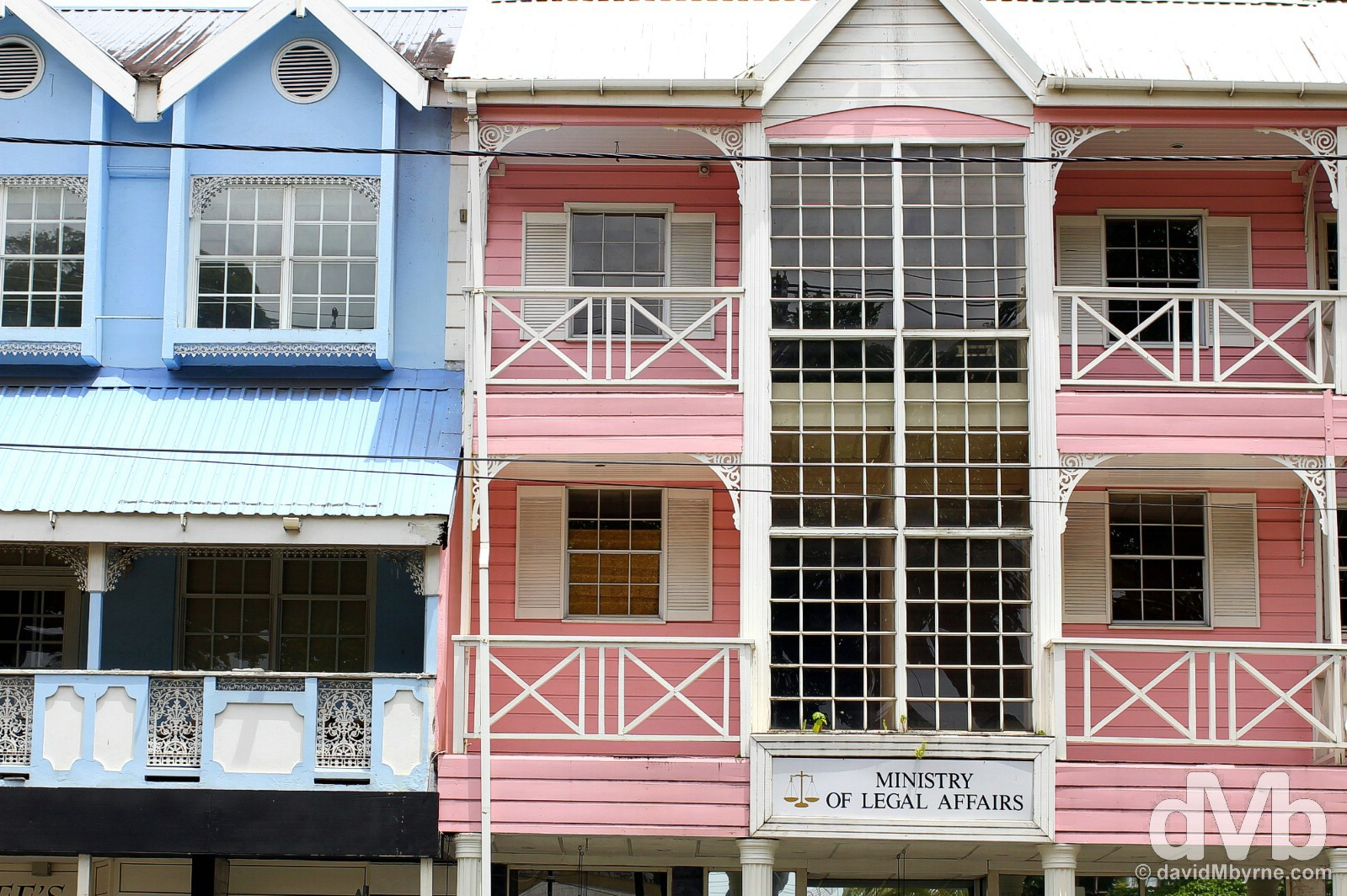 Wooden buildings lining Bourbon Street in Castries, St. Lucia, Lesser Antilles. June 14, 2015.