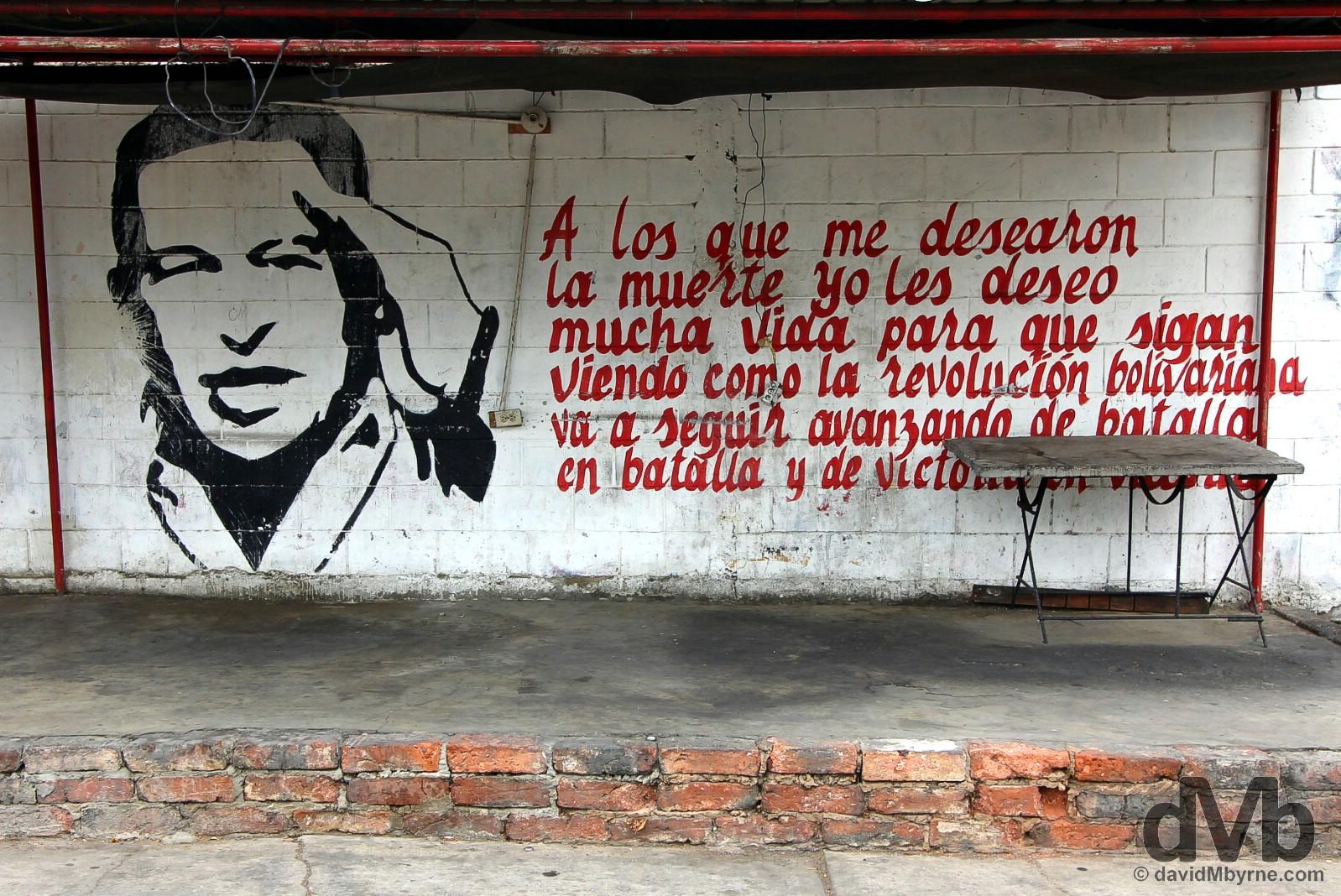A Hugo Chavez mural on Avenida Padilla Calle 93, Maracaibo, Venezuela. June 22, 2015.