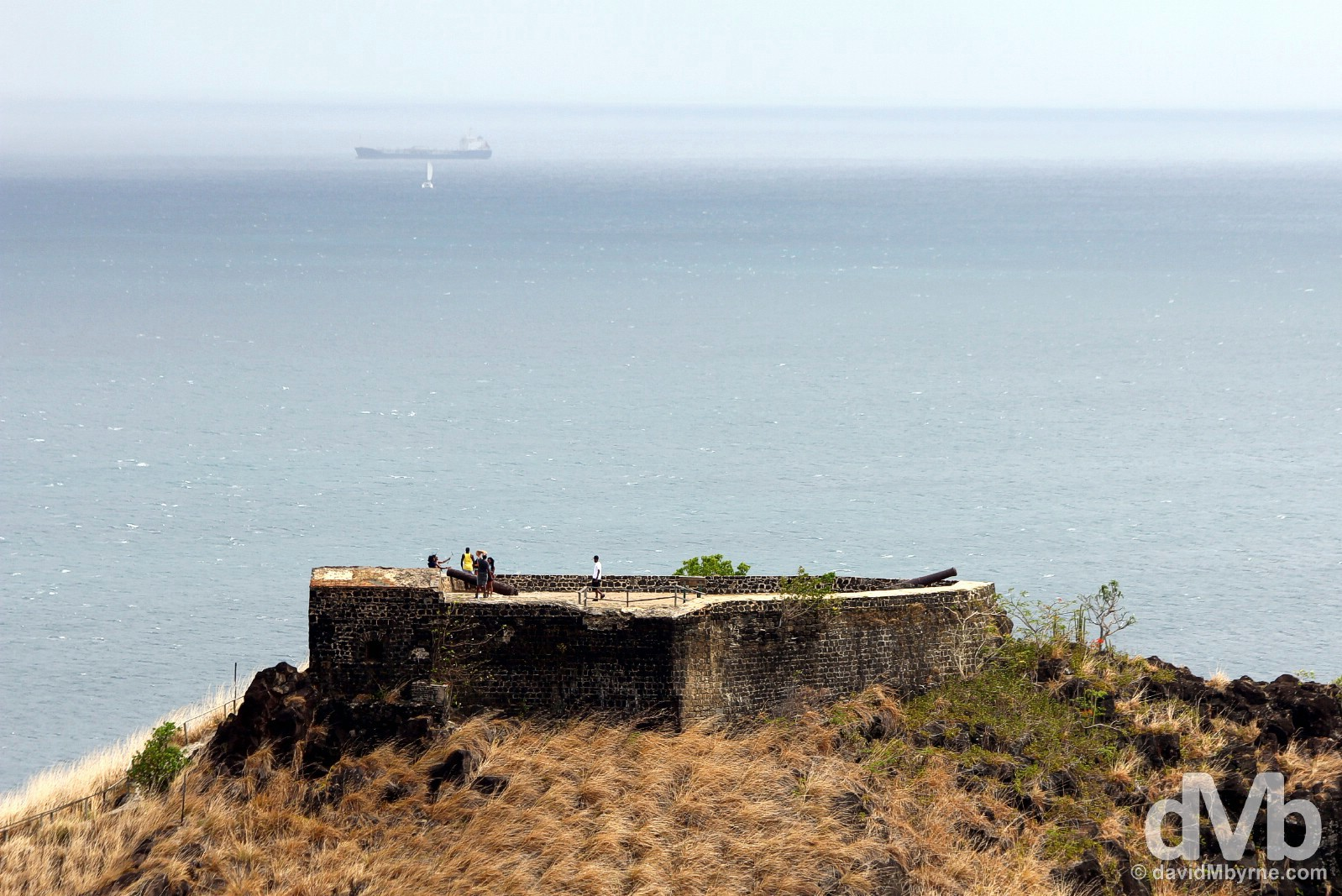 Fort Rodney & far-off shipping as seen from Signal Peak on Pigeon Island, St. Lucia, Lesser Antilles. June 16, 2015.
