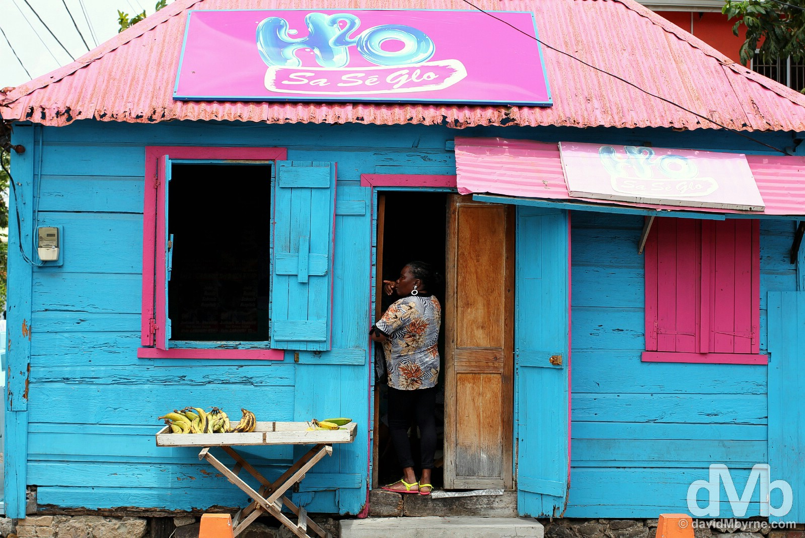 A colourful wooden building in the fishing village of Gros Islet, St. Lucia, Lesser Antilles. June 13, 2015.