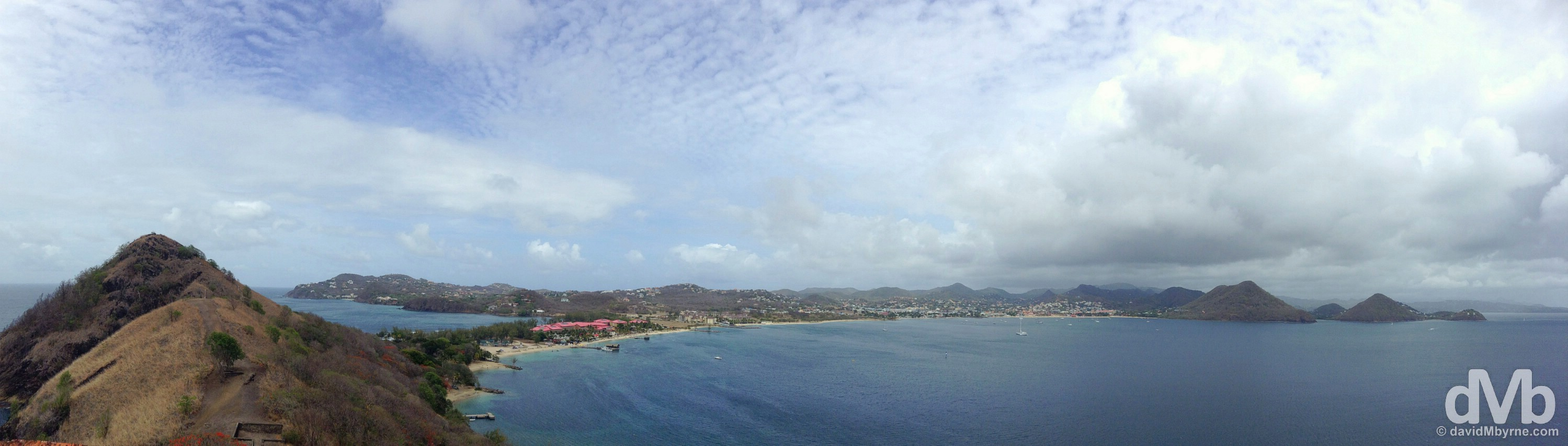 Rodney Bay & northwest St. Lucia as seen from Fort Rodney on Pigeon Island. St. Lucia, Lesser Antilles. June 16, 2015.