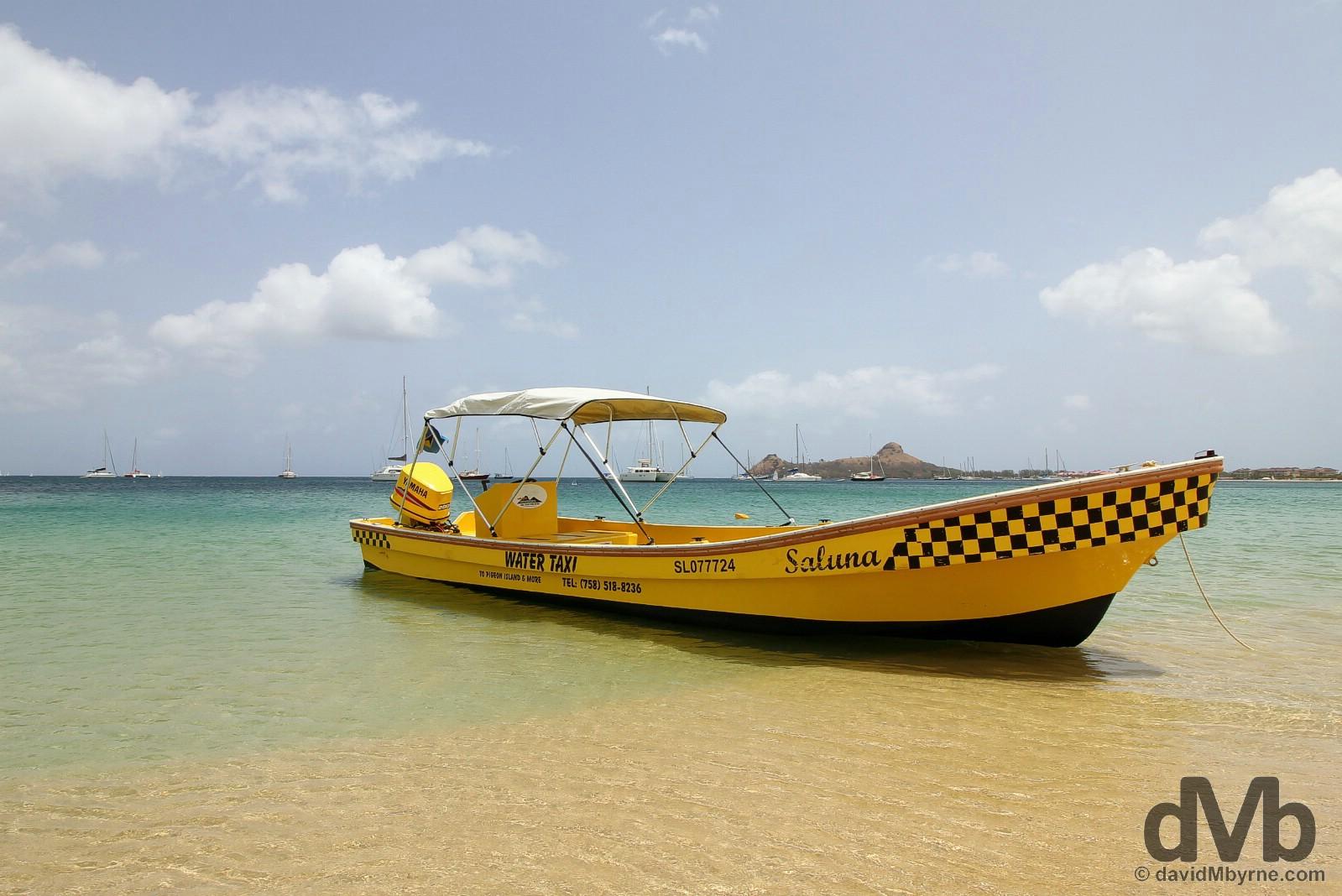 A water taxi on Reduit Beach, Rodney Bay, St. Lucia, Lesser Antilles. June 14, 2015.