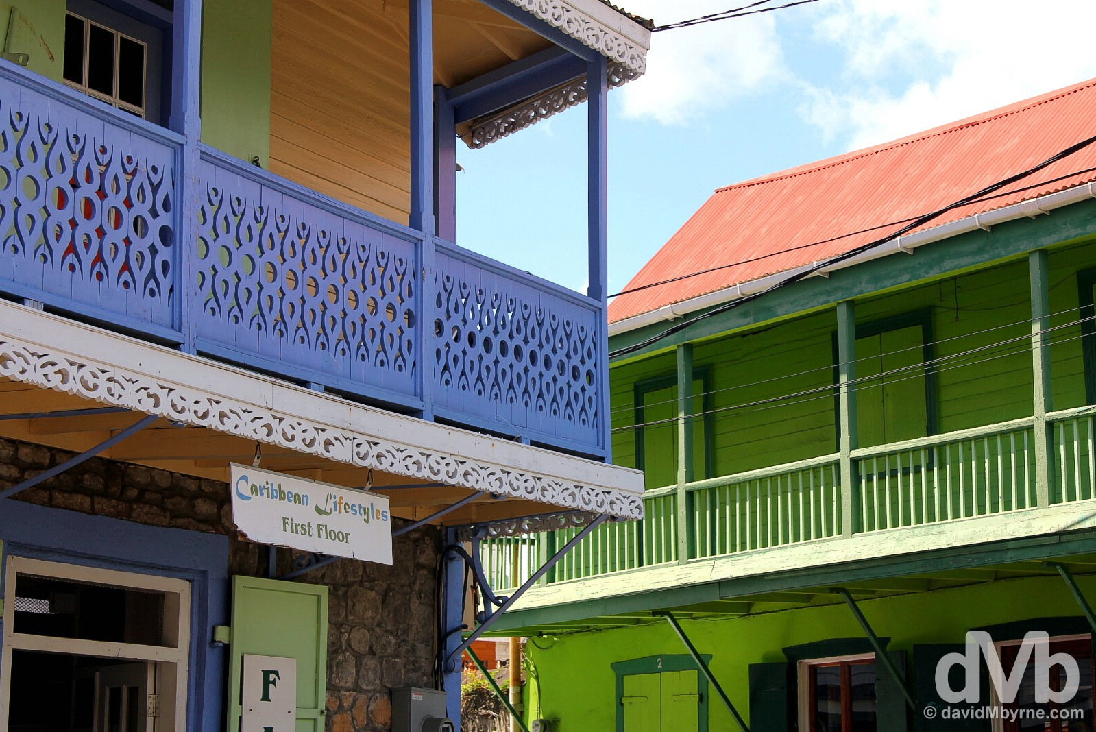 Colourful stone-&-wooden buildings in Roseau, Dominica, Lesser Antilles. June 10, 2015.