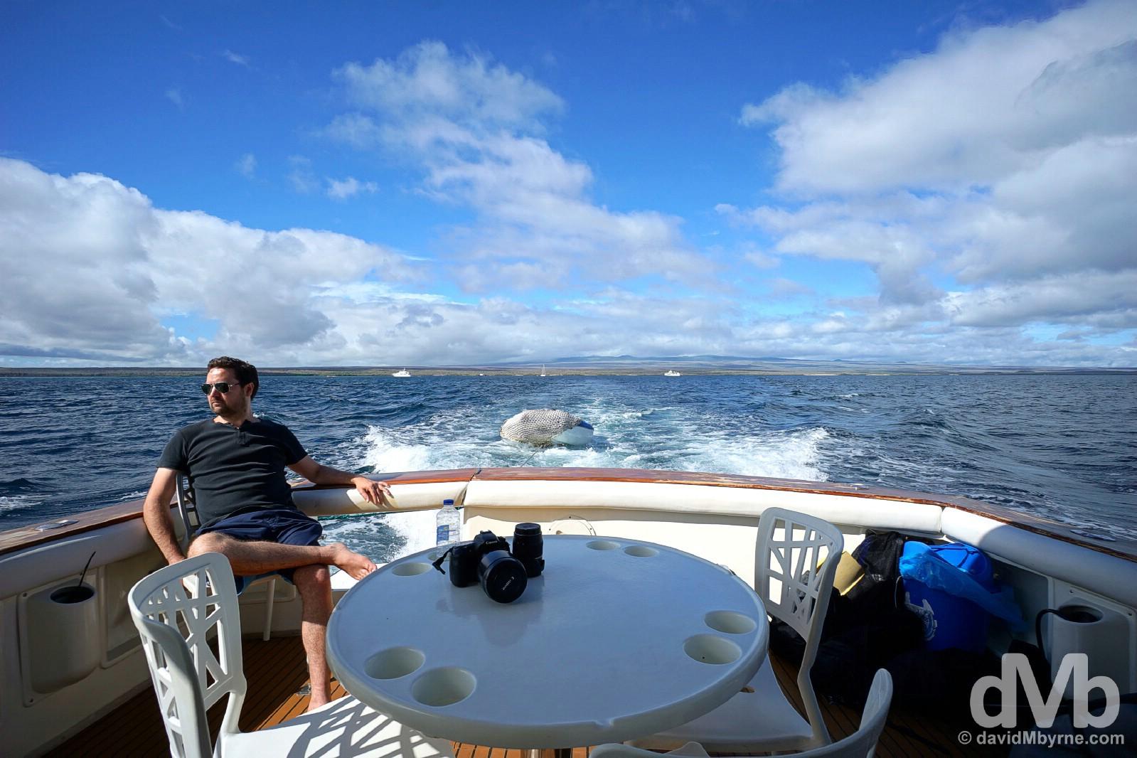 On board the Altamar en route from Isla Santa Cruz to Isla Seymour Norte. Galapagos, Ecuador. July 18, 2015.