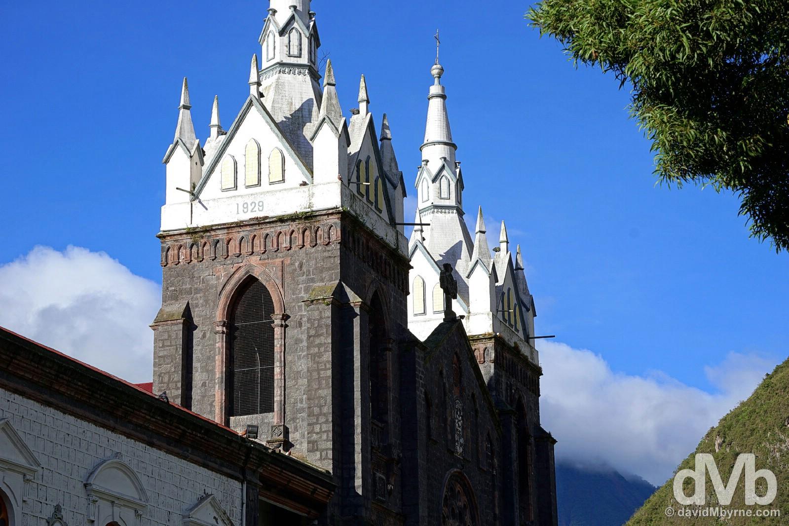 The Basilic de Nuestra Senora del Rosario de Agua Santa in Parque de la Basilica, Banos, Ecuador. July 9, 2015.