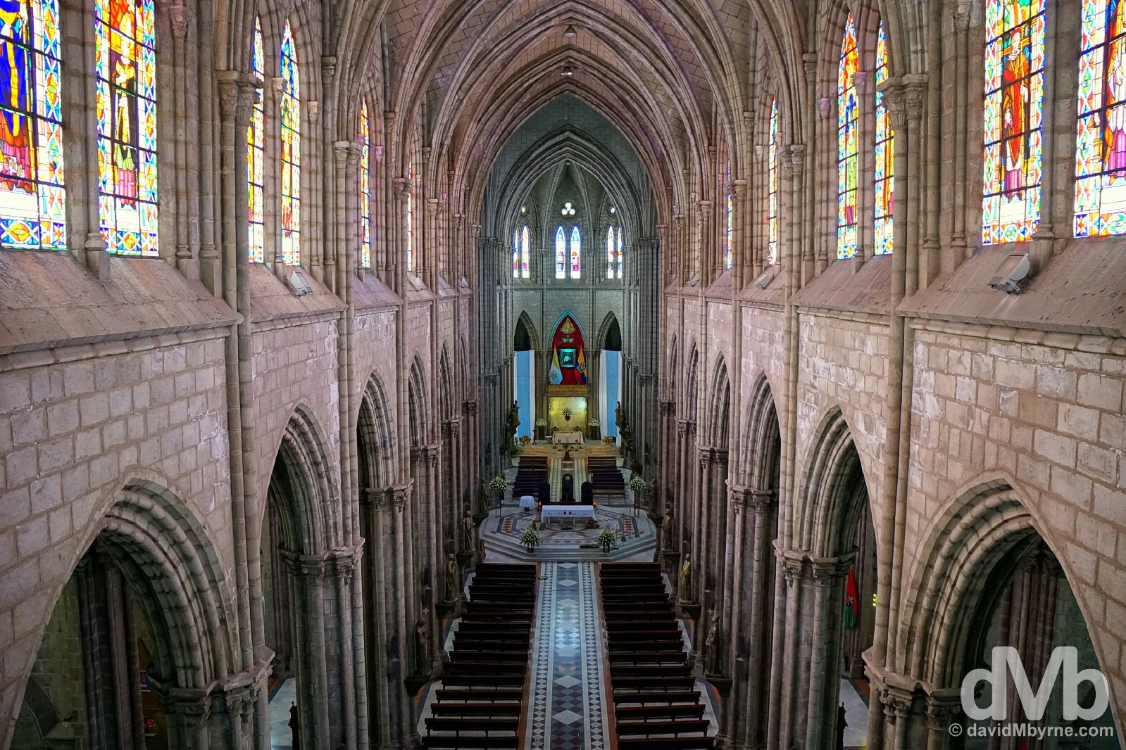 The interior of the Gothic Basilica del Voto Nacional in Quito, Ecuador. July 4, 2015.