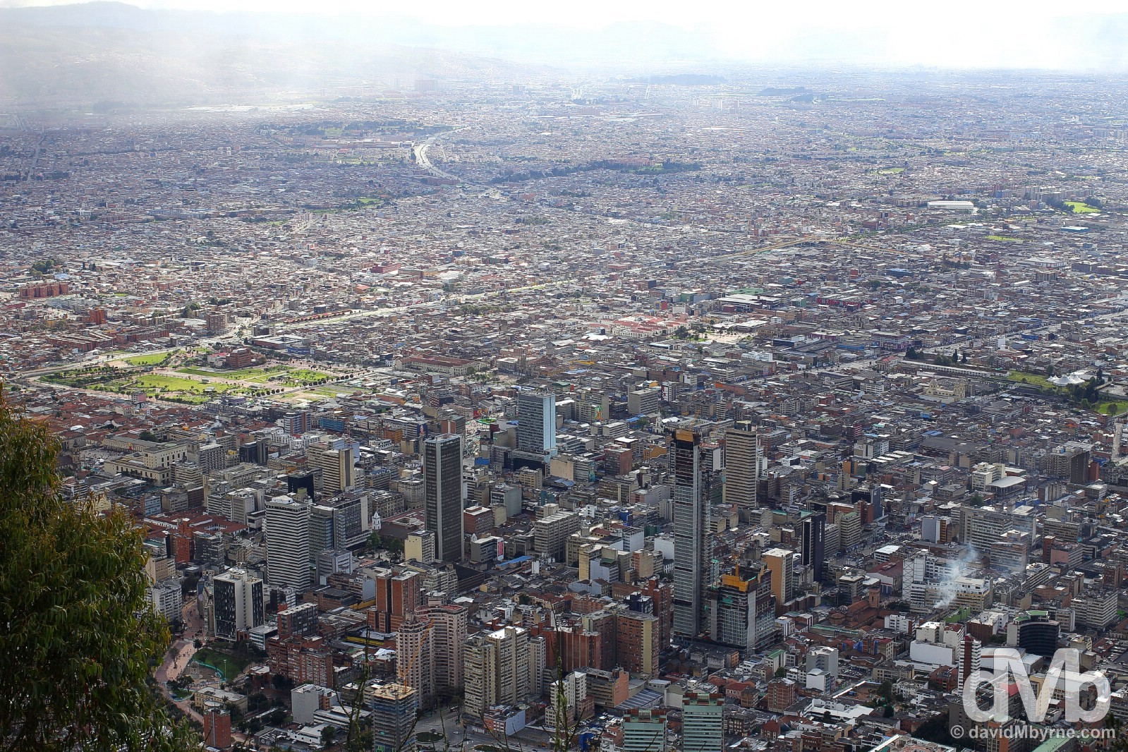 The city of Bogota as seen from Cerro de Monserrate overlooking the city. Bogota, Colombia. June 28, 2015.