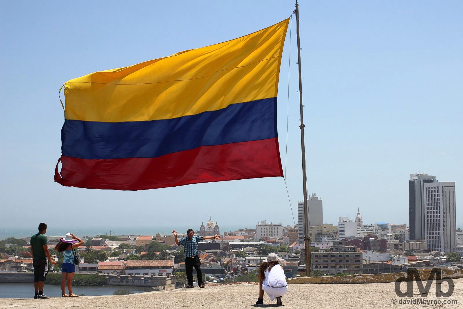 Castillo de San Felipe de Barajas overlooking the city of Cartagena, Colombia. June 25, 2015.