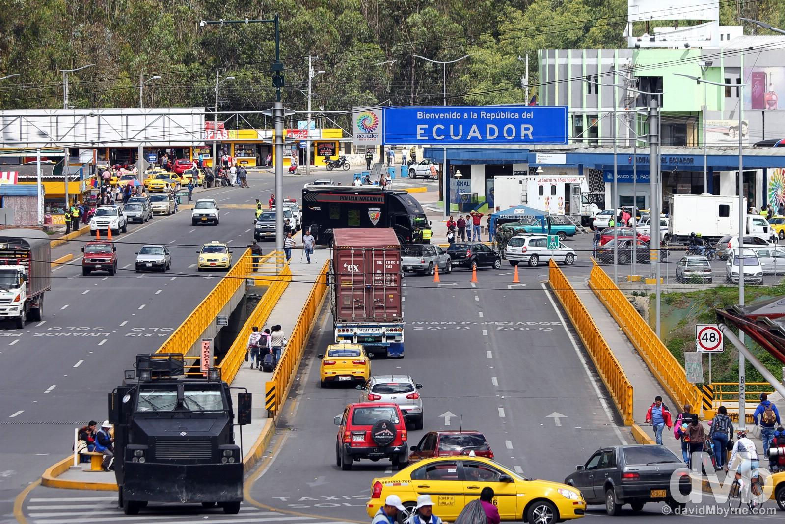 Leaving Colombia. Ecuador as seen across the Colombian side of the Rumichaca bridge marking the Colombia/Ecuador border. July 2, 2015.