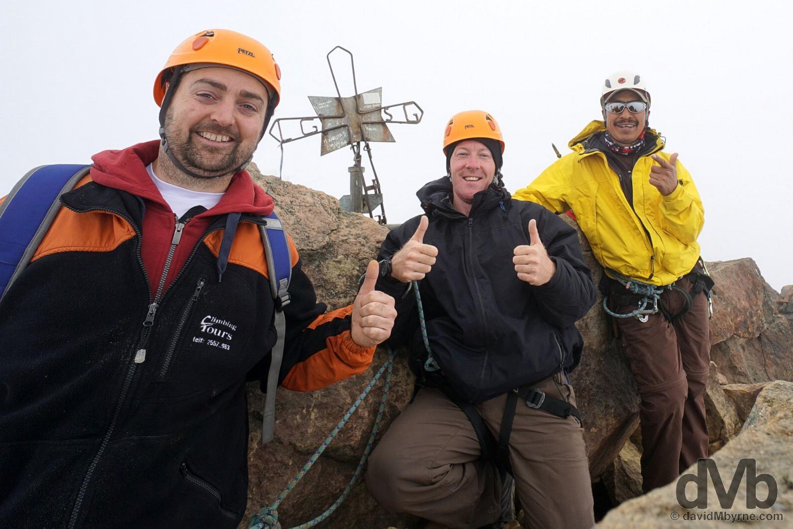 On the 5126 metre summit of Iliniza Norte, Reserva Ecologica Los Ilinizas, Ecuador. July 7, 2015.