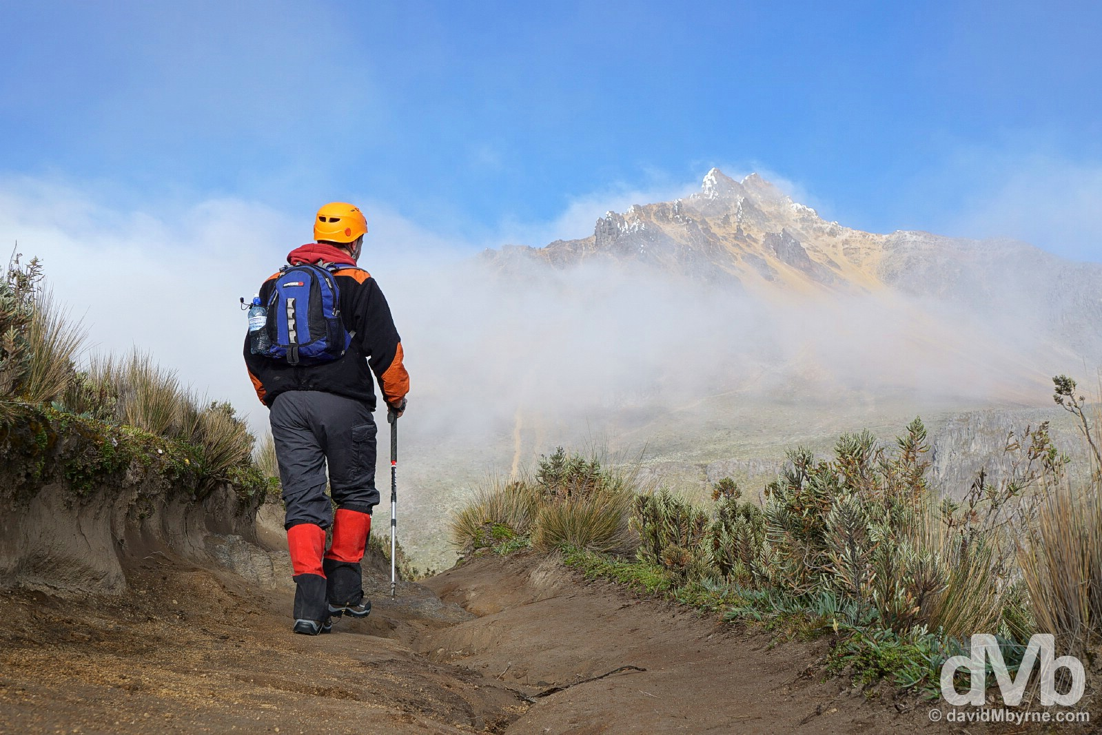 Forty-five minutes in. Heading for Iliniza Norte (seen in the distance) in Reserva Ecologica Los Ilinizas, Ecuador. July 7, 2015.