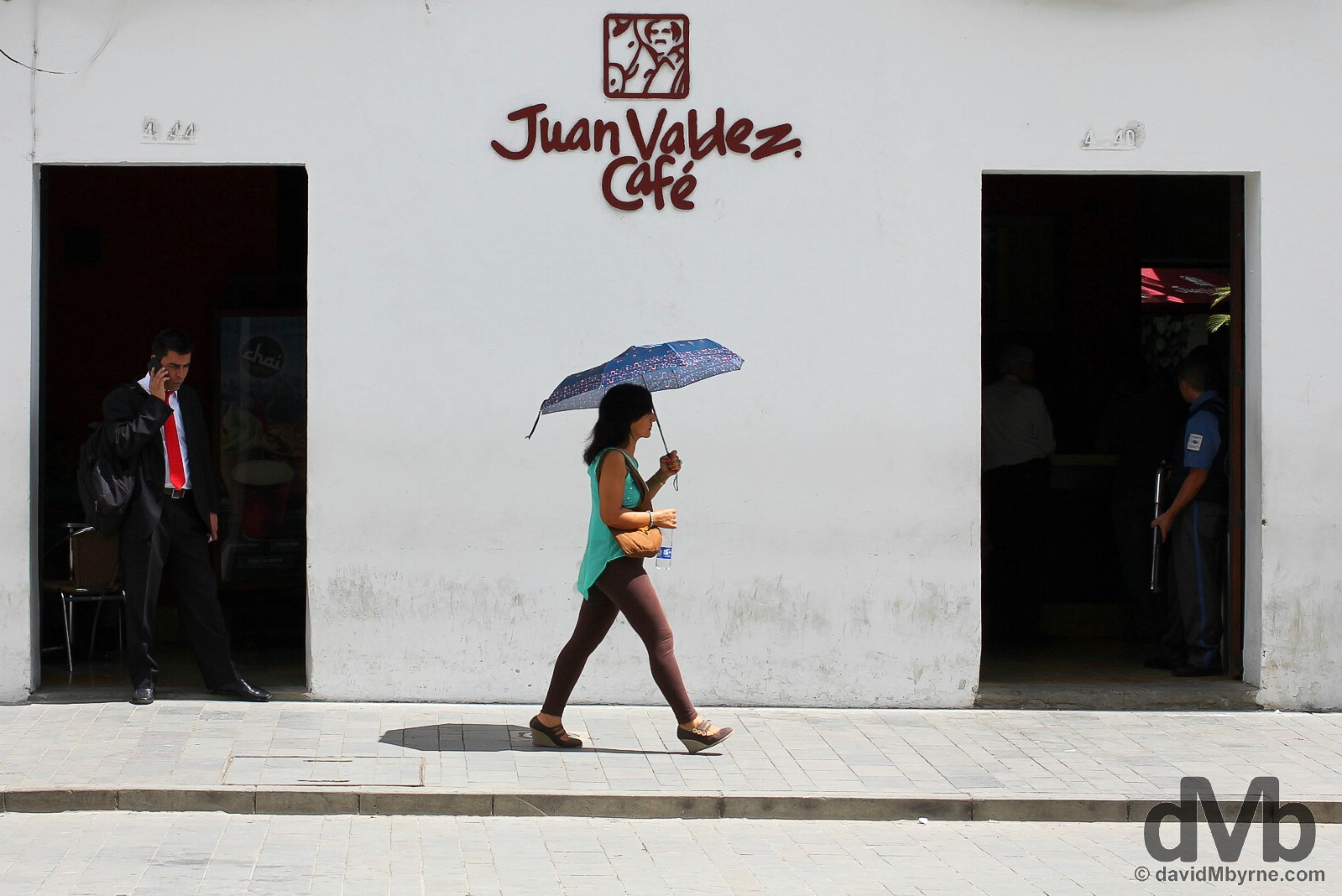 Juan Valdez Cafe off Parque Caldas in Popayan, Colombia. June 30, 2015.