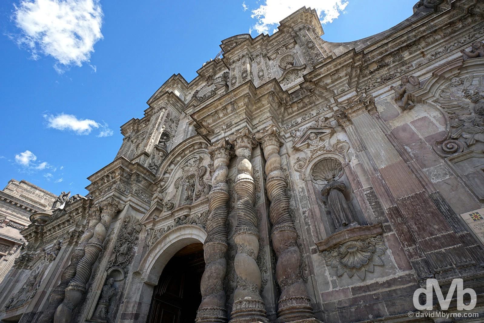 The facade of the baroque La Compania Church in Quito, Ecuador. July 4, 2015.