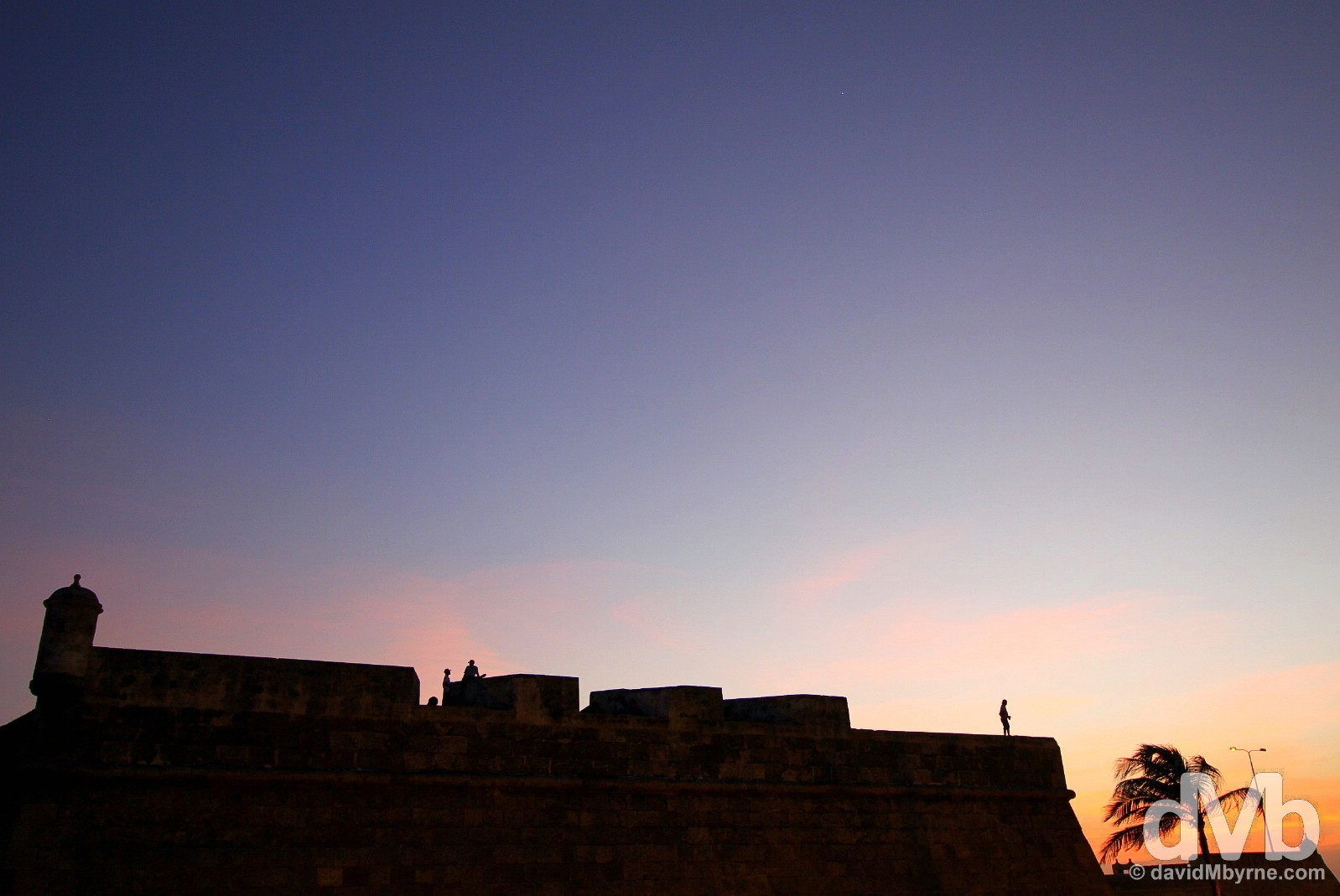 A section of Las Murallas, the Old Town walls of Cartagena, at twilight. Cartagena, Colombia. June 24, 2015.