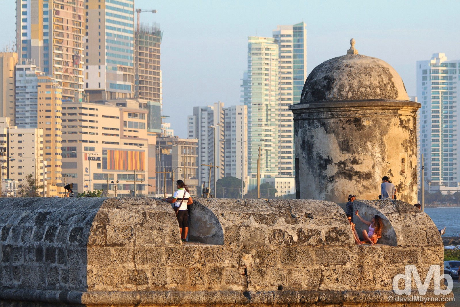 New & old. New Cartagena as seen from a section of Las Murallas, the Old Town walls. Cartagena, Colombia. June 24, 2015.