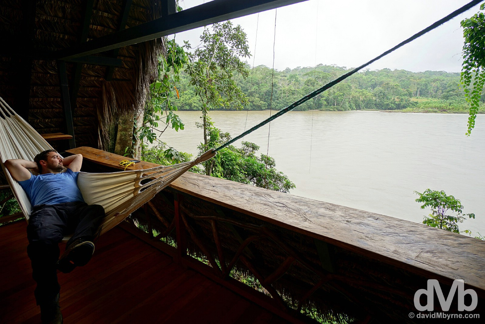 Relaxing overlooking the Napo River from Lodge 13 of Cotococha Amazon Lodge, Ecuador. July 12, 2015.
