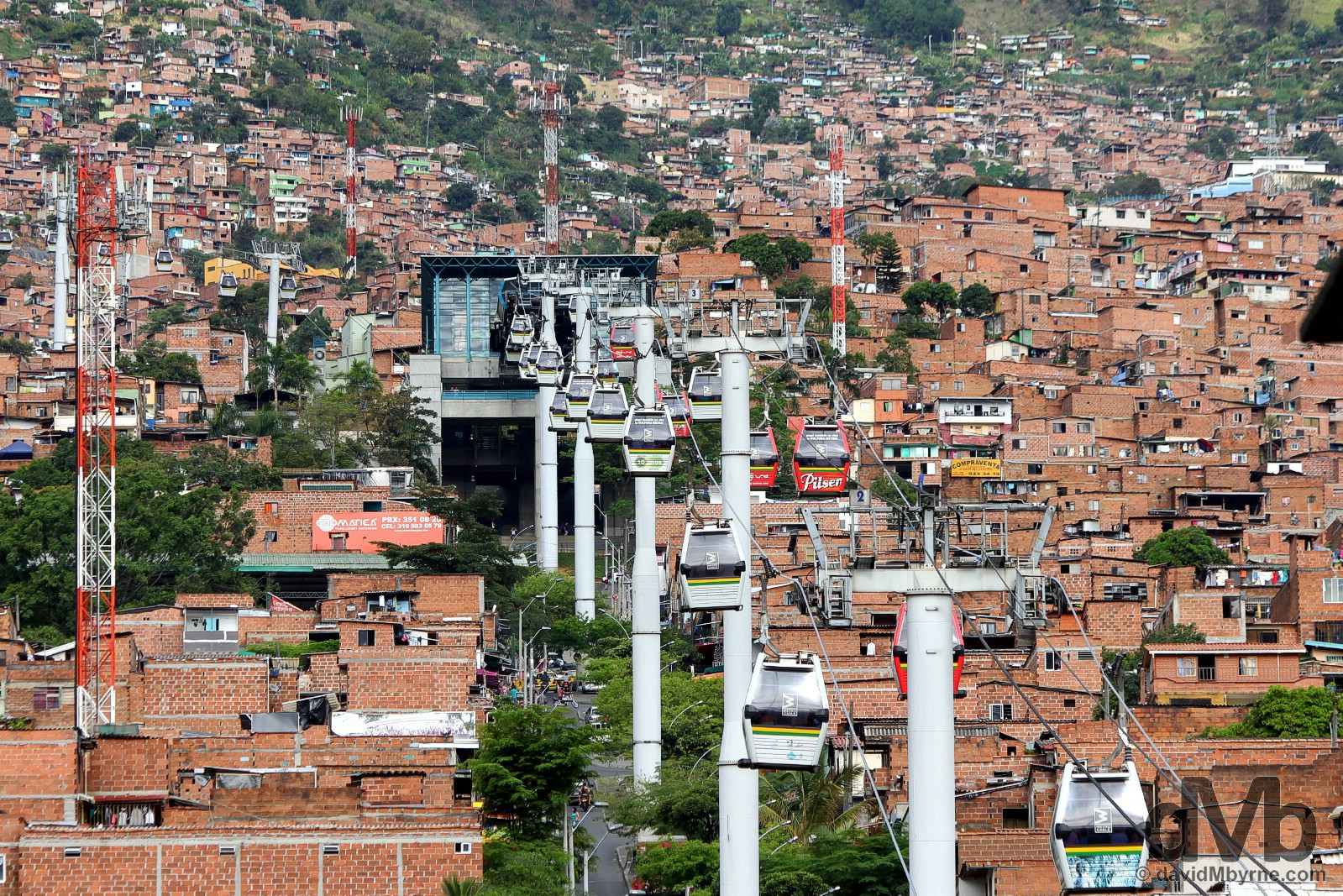 A section of the Metrocable & distinctive redbrick hillside buildings in Medellin, Colombia. June 27, 2015.