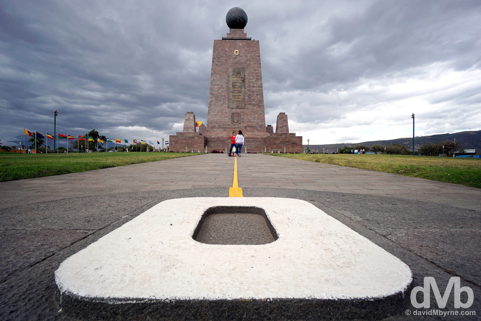O for Oeste (West) at La Mitad del Mundo (The Middle of the World), Ecuador. July 5, 2015.