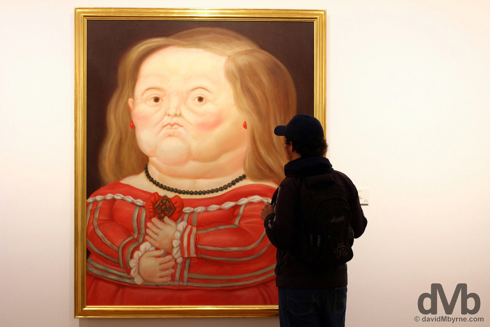 Admiring the piece 'Maribarbola, segun Velazquez' by Fernando Botero in the Museo Botero, Bogota, Colombia. June 28, 2015.