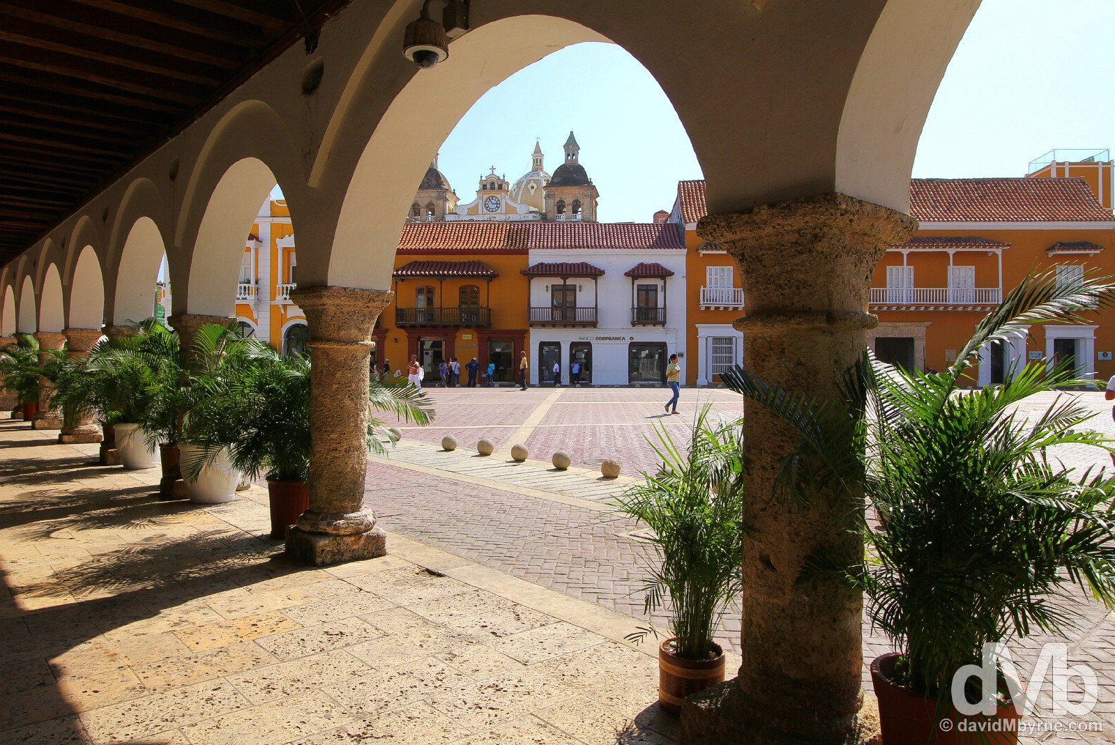 Plaza de la Aduana in Old Town Cartagena, Colombia. June 25, 2015.