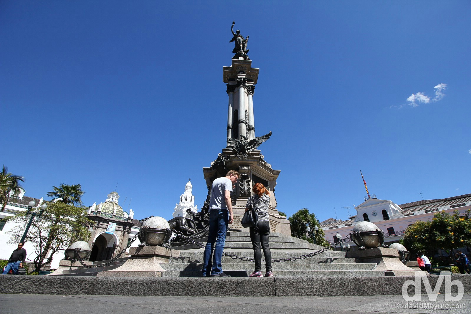 Plaza de la Independencia, one of the three main squares in the UNESCO-listed old town of Quito, Ecuador. July 4, 2015.