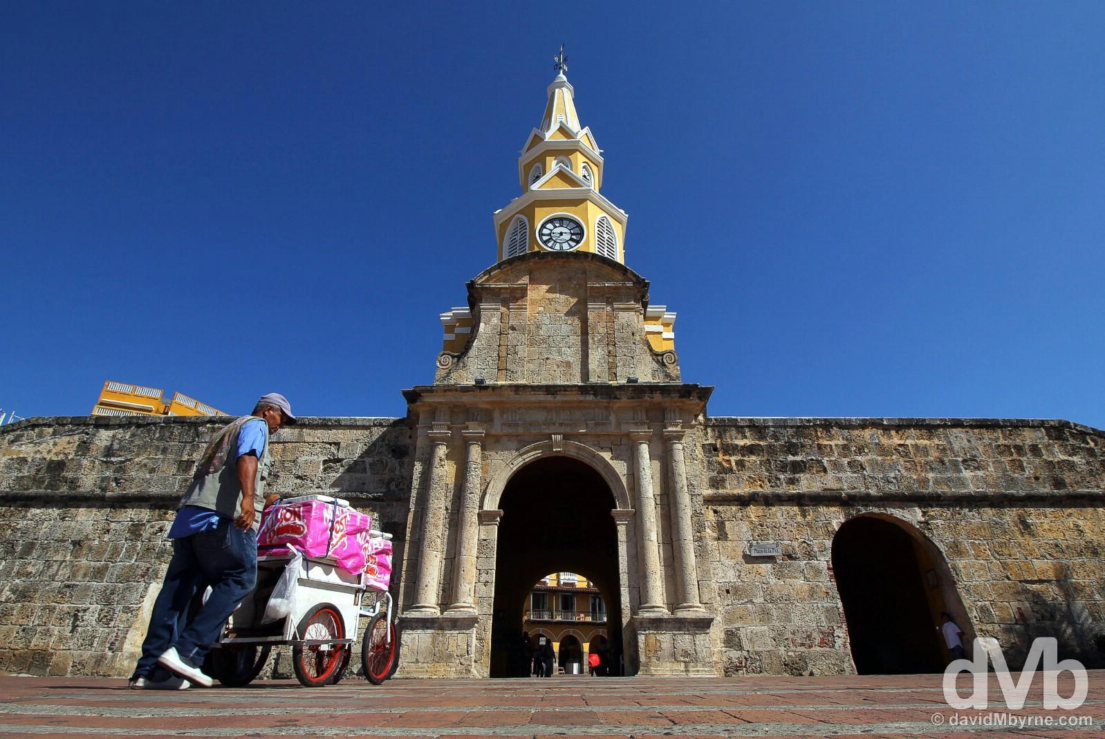 Puerta del Reloj in Old Town Cartagena, Colombia. June 25, 2015.