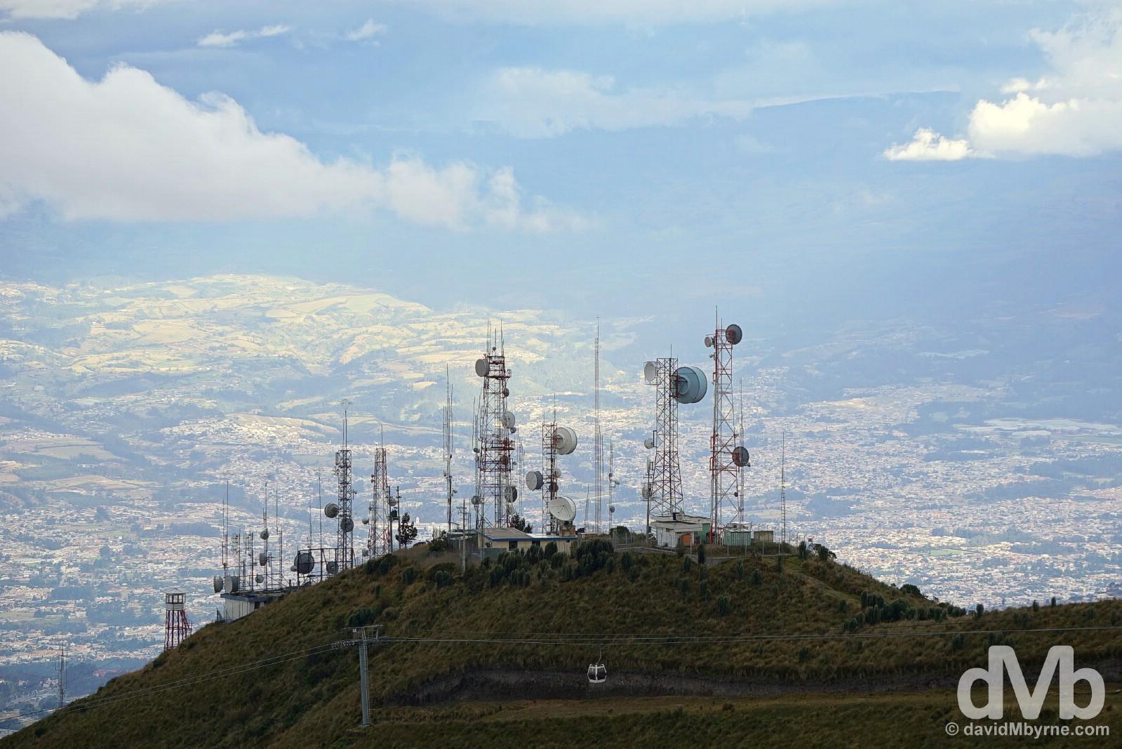 Teleferiqo on Cruz Loma overlooking Quito, Ecuador. July 5, 2015.