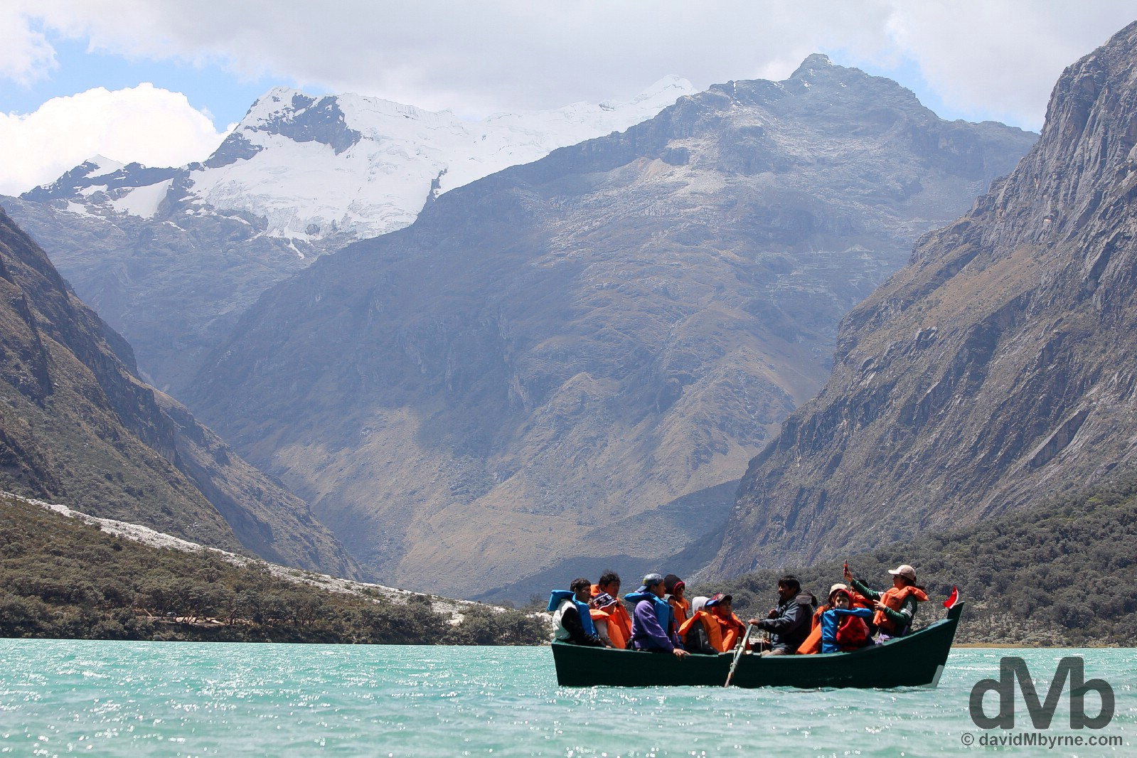 Boating on Lago (Lake) Chinan Cocha in Parque Nacional Huascaran, Ancash, Peru. August 5, 2015.