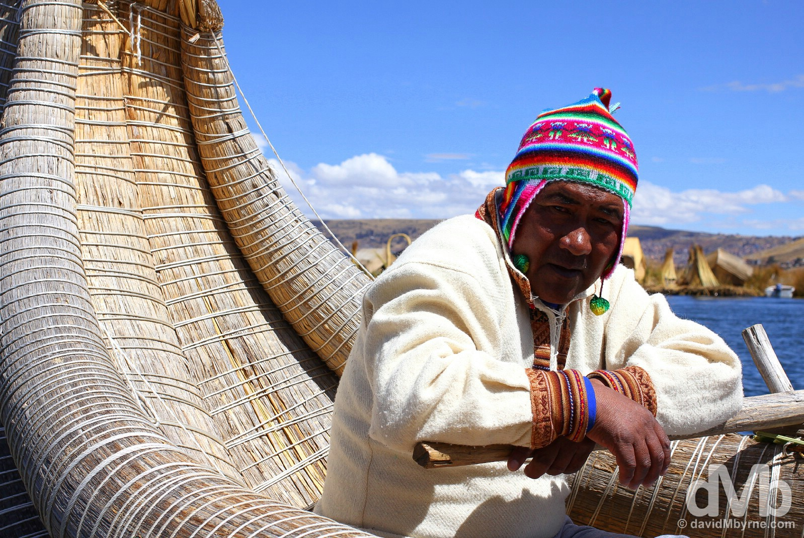 A boatman on the Uros Islands, Lake Titicaca, Peru. August 19, 2015.