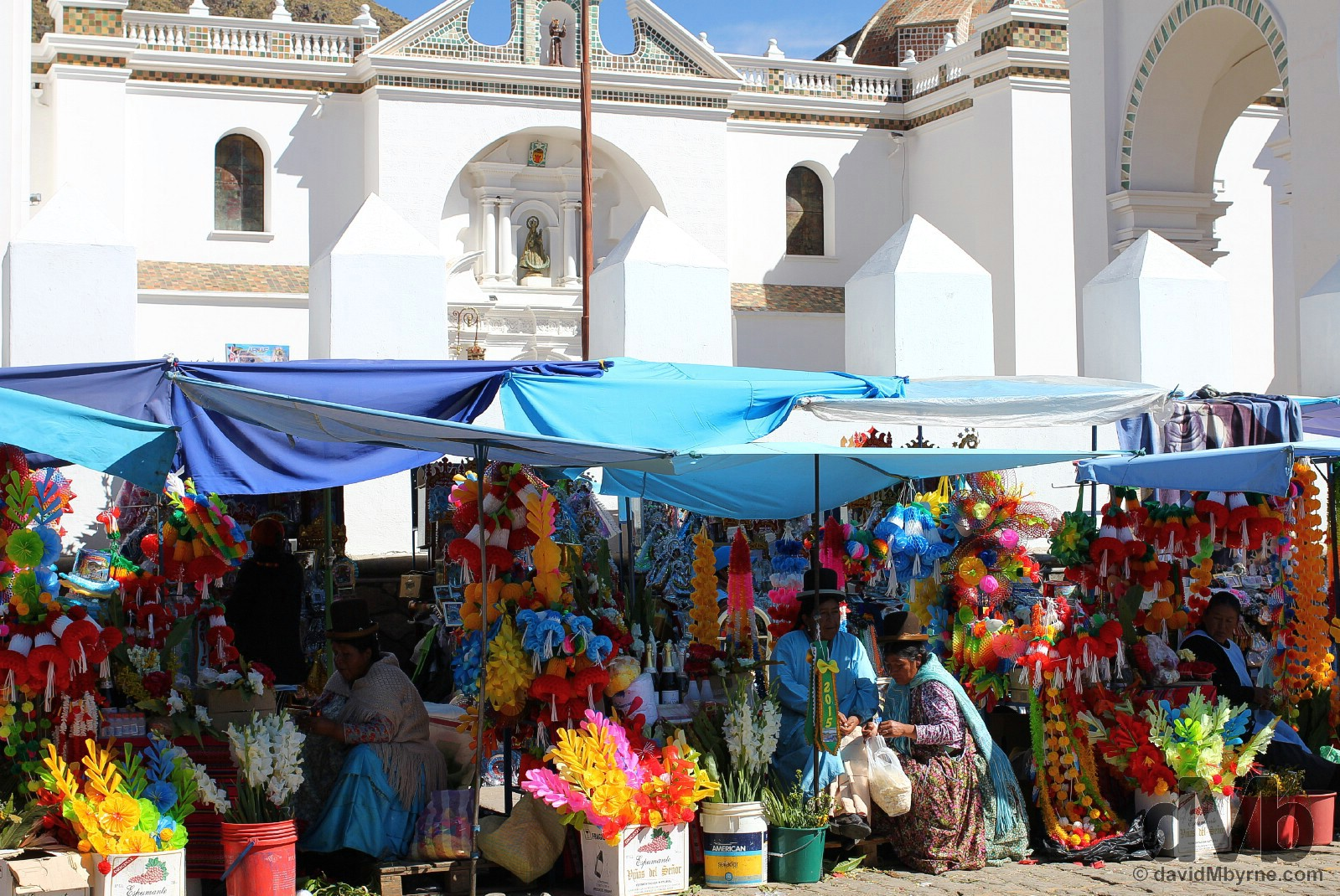 Vendors outside the Catedral in Copacabana, Bolivia. August 23, 2015.