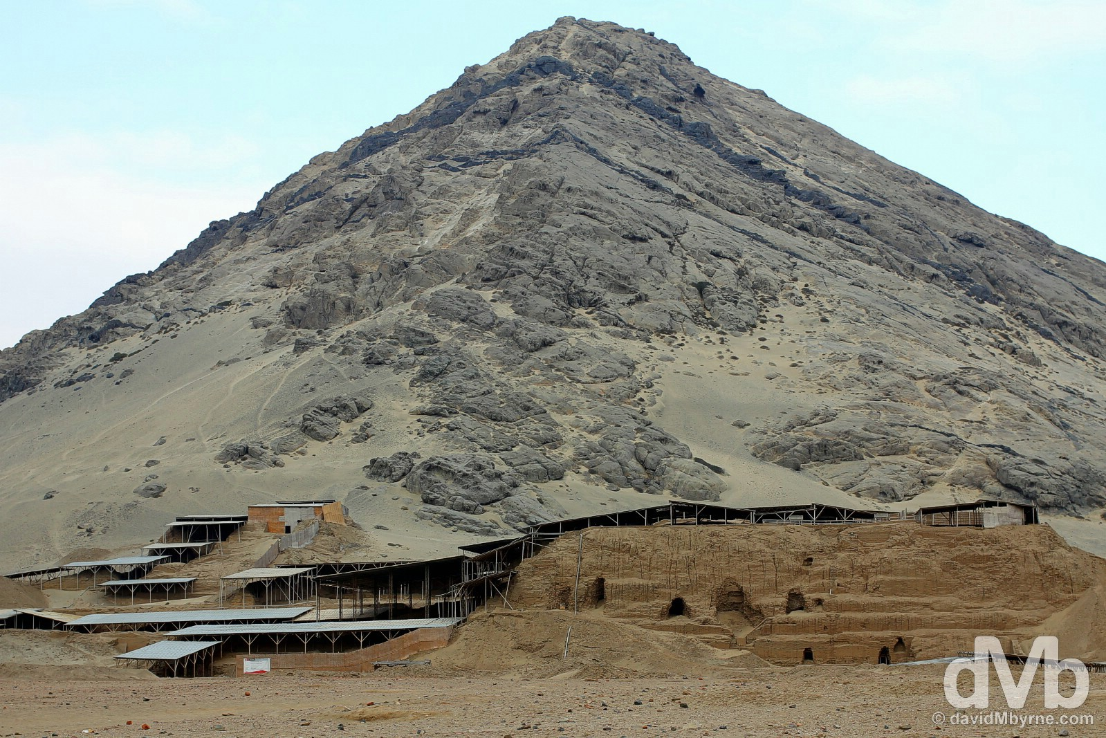 Huaca de la Luna (Temple of the Moon) at the base of Cerro Blanca, Moche, northwestern Peru. August 1, 2015.