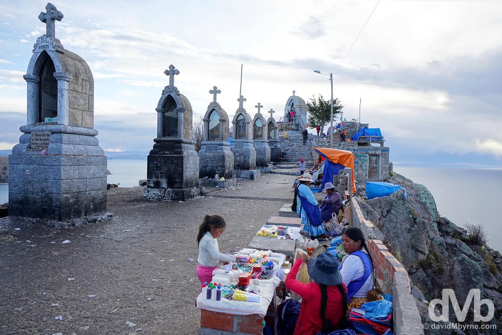 The summit of Cerro Calvario overlooking Lake Titicaca & the town of Copacabana, Bolivia. August 23, 2015.