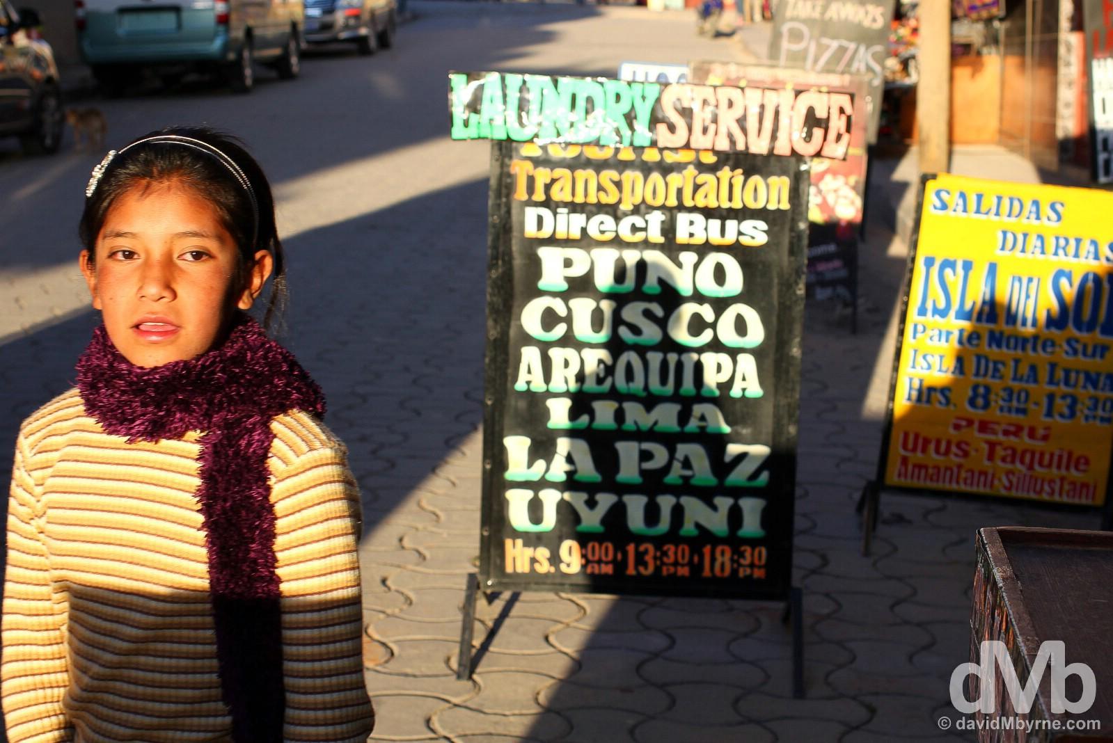 Avenue 6 de Agosto, tourist central in Copacabana, Bolivia. August 24, 2015.
