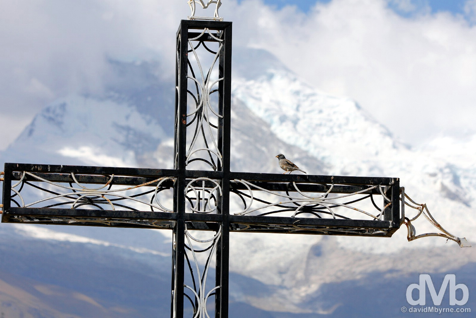 One of the many memorial crosses at the site of the submerged old town of Yungay, Ancash, Peru. August 5, 2015.