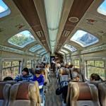 Carriage D of Peru Rail's 07:42 Expedition service from Cusco to Machu Picchu Peublo/Aguas Calientes, Peru. August 14, 2015.