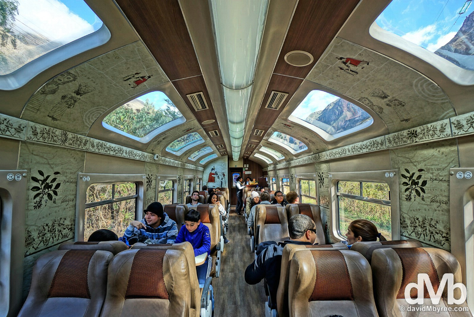 Carriage D of Peru Rail's 07:42 Expedition service from Cusco to Machu Picchu Peublo/Aguas Calientes, Peru. August 14, 2015.