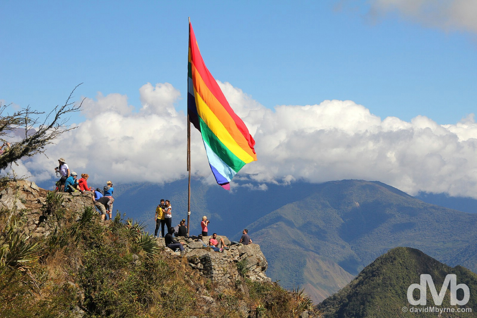 An Inca flag marks the 3061 metre summit of Montana Machupicchu in Machu Picchu, Peru. August 15, 2015.
