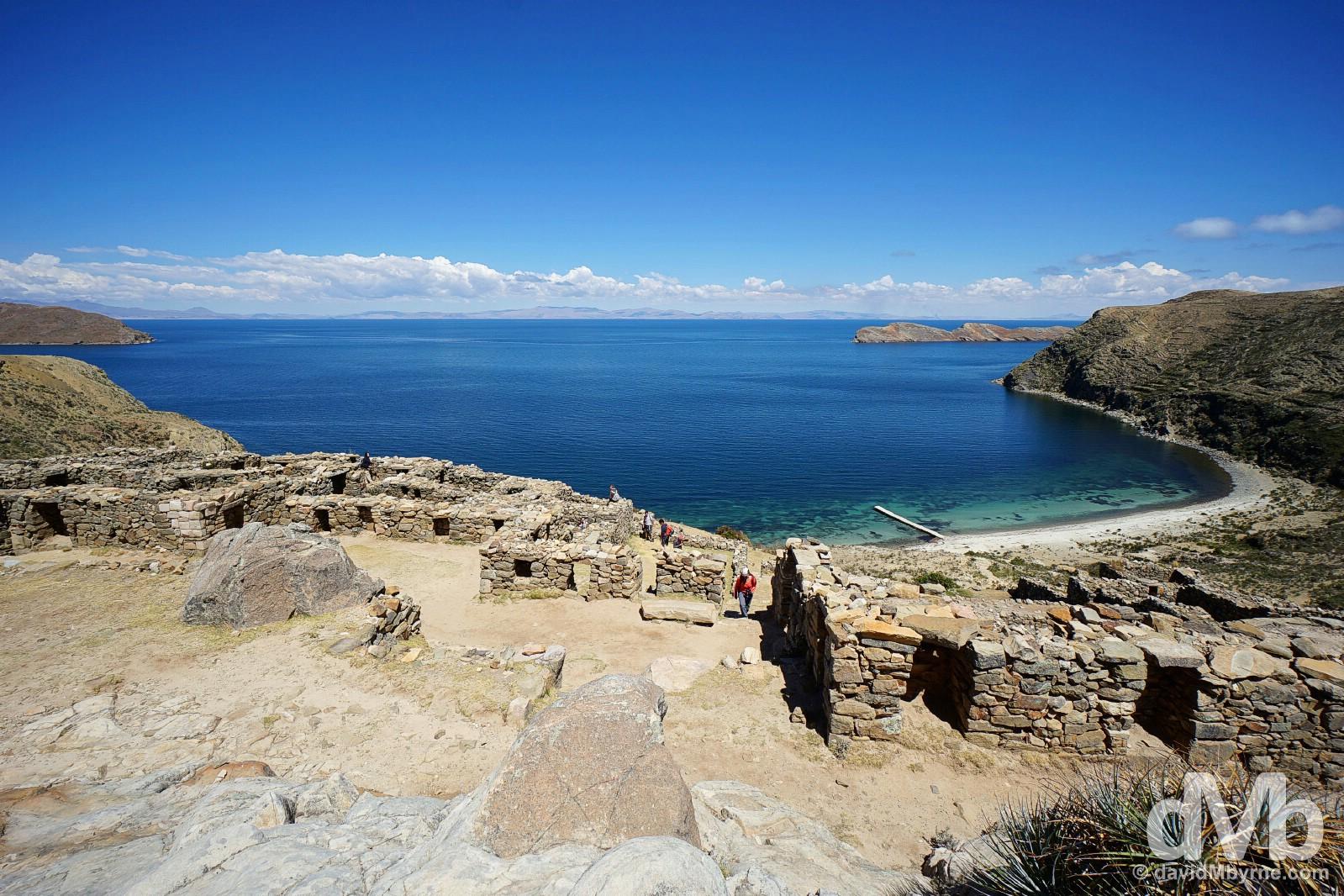 Inca ruins on Isla del Sol overlooking Lake Titicaca, Bolivia. August 24, 2015.