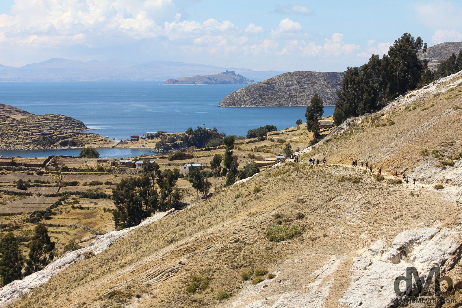 Walking on Isla del Sol in Lake Titicaca, Bolivia. August 24, 2015.