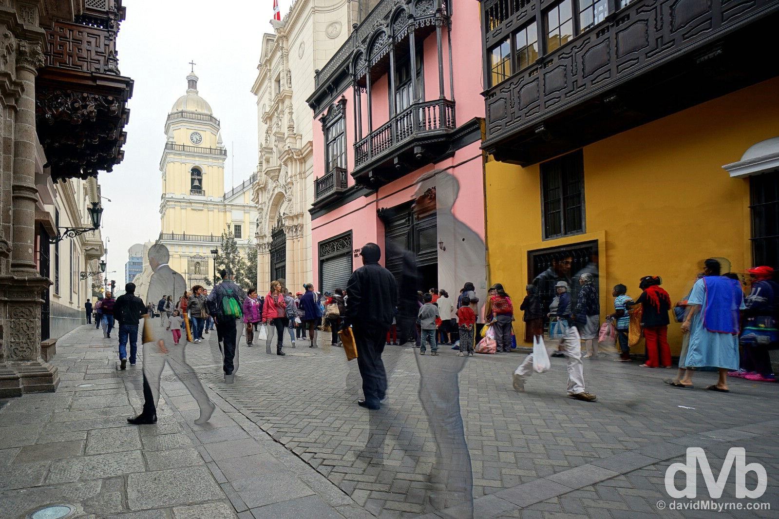 Architecture & pedestrians on Jiron Ucayali in Lima Centro, Lima, Peru. August 7, 2015.
