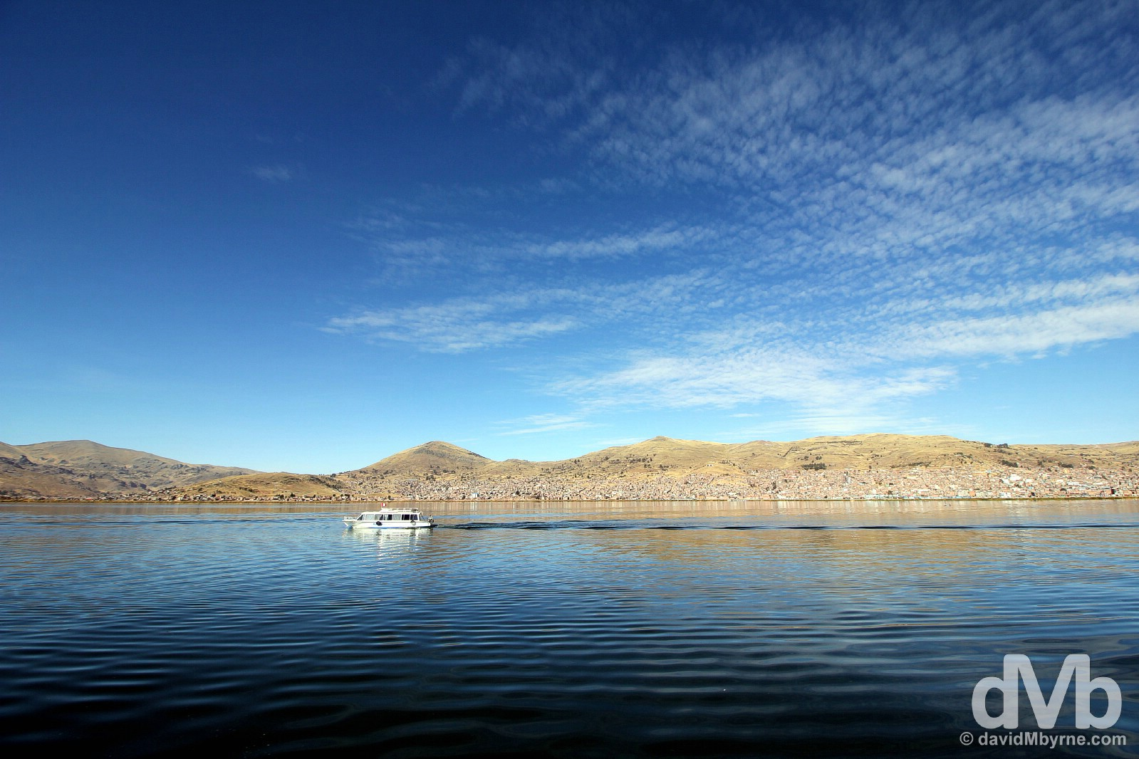 Boating on Lake Titicaca outside Puno, Peru. August 20, 2015.