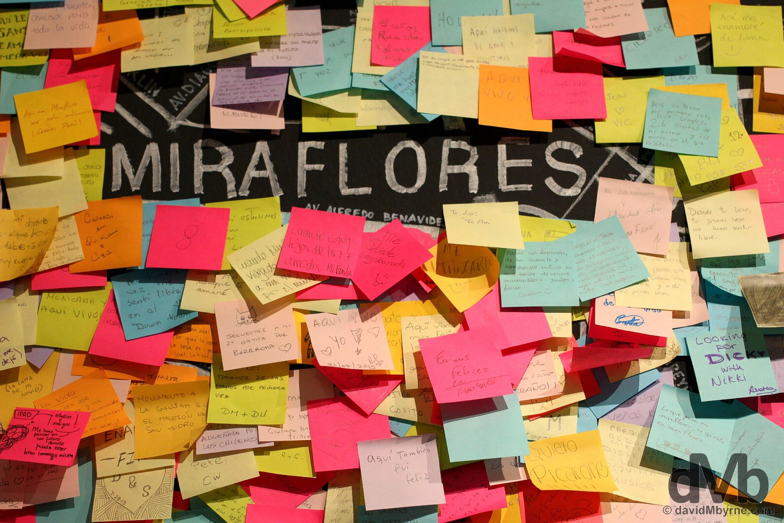 Post-it notes in an exhibition in the Centro Cultural de la Municipalidad de Miaflores, Miraflores, Lima, Peru. August 8, 2015.