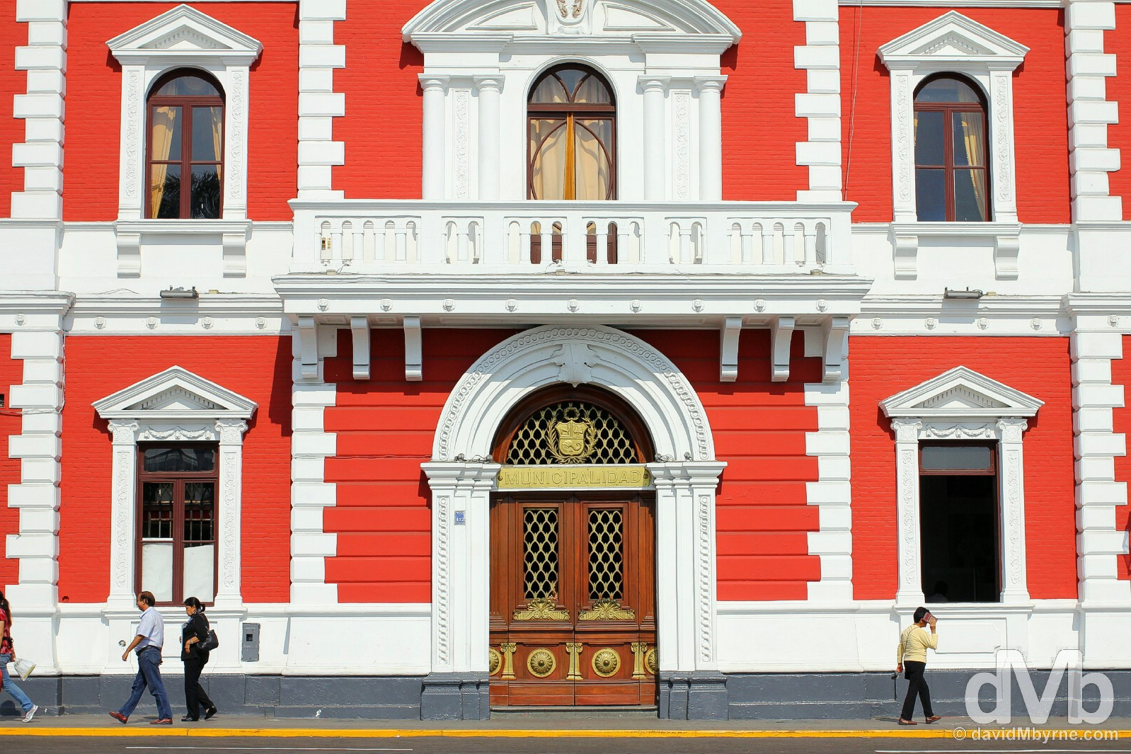 The Municipalidad building on Plaza Major in the city of Trujillo, northwestern Peru. July 31, 2015.