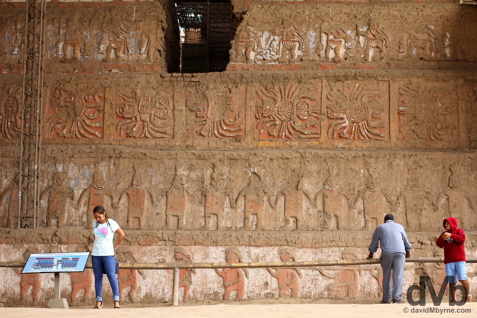 Adobe murals on the 7-tier north face of the Old Temple of Huaca de la Luna (Temple of the Moon), Moche, northwestern Peru. August 1, 2015.