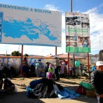 Hello Bolivia. At the Peruvian-Bolivian Kasani border crossing on the shores of Lake Titicaca. August 22, 2015.