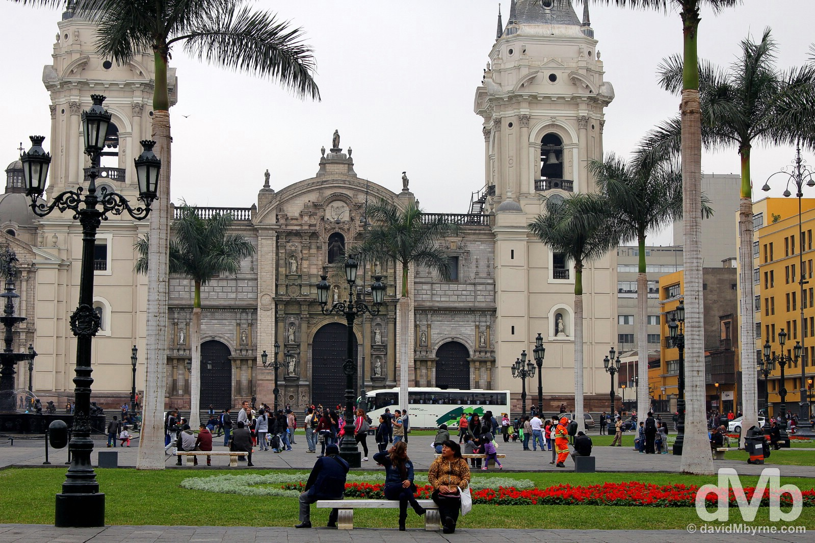Lima's Catedral as seen from across Plaza Mayor in Lima Centro, Lima, Peru. August 7, 2015.