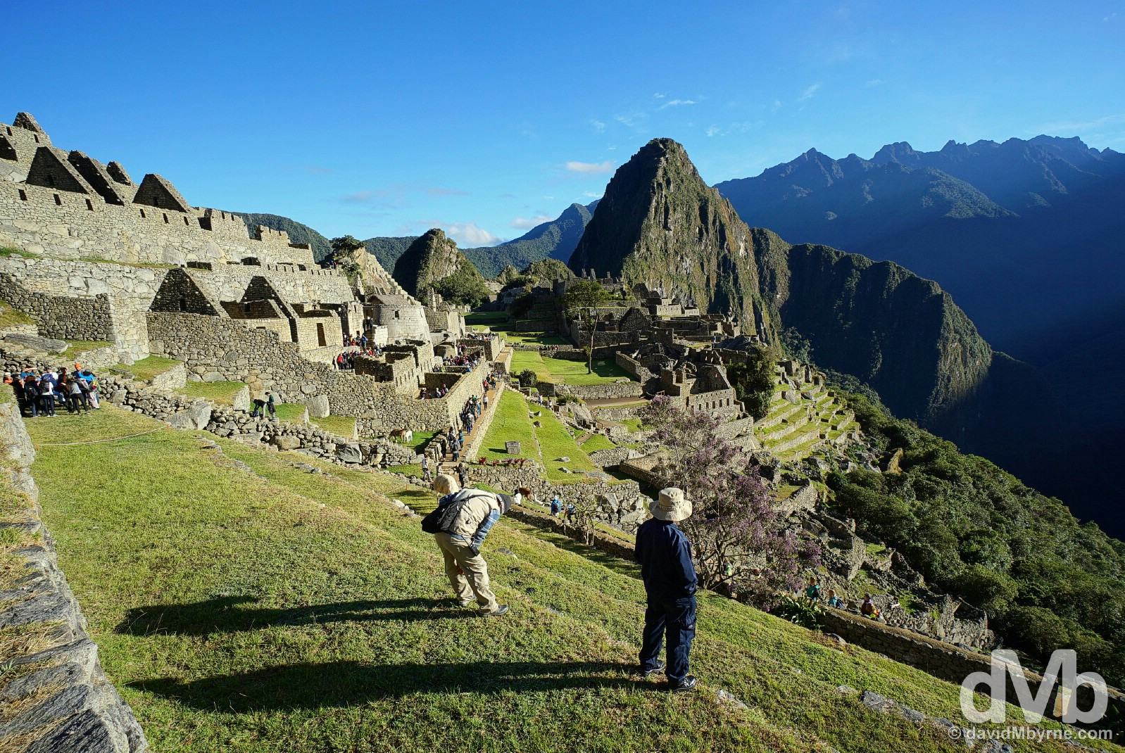Watching sunrise from the Eastern Agricultural Sector terraces in Machu Picchu, Peru. August 15, 2015.