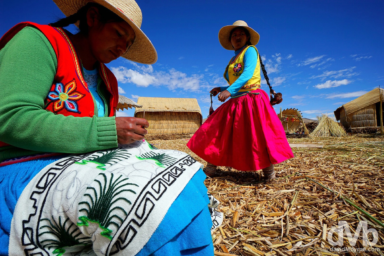 Locals on the floating Uros Islands, Lake Titicaca, Peru. August 19, 2015.